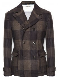 He By Mango Check Wool-blend Peacoat