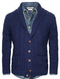He By Mango Shawl Collar Cable-knit Cardigan