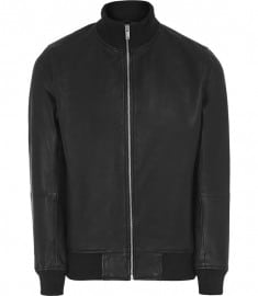Reiss Knowles Leather Bomber Jacket Black