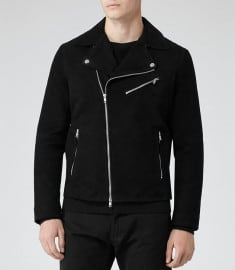 Reiss 1971 Mick Suede Biker Jacket Black