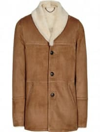 Reiss Tyson Shearling Coat Brown
