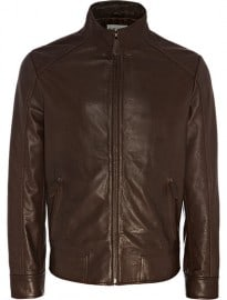 Reiss Orpwood Leather Bomber Jacket Mid Brown