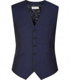 Reiss Bishopsgate W Mohair Wool Notch Lapel Waistcoat Bright Blue