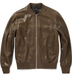 Ps By Paul Smith Pre-aged Leather Bomber Jacket