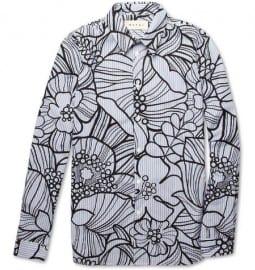 Marni Striped Flower-print Cotton Shirt