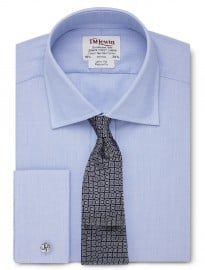 T.m.lewin Regular Fit Plain Blue End-on-end Shirt