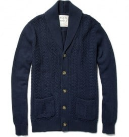 Aubin & Wills Peckson Shawl-collar Cable Knit Cardigan