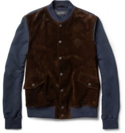Gucci Suede-front Jersey Varsity Jacket