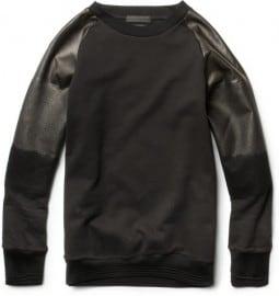 Alexander Mcqueen Degradé Leather-sleeved Cotton Sweatshirt