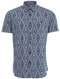 Burton Blue Short Sleeve Chambray Print Shirt