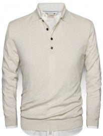 He By Mango Polo Collar Silk Cotton-blend Sweater