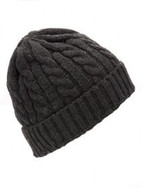 New Look Grey Cable Knit Fisherman Beanie Hat