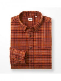Uniqlo Men Flannel Checked Long Sleeve Shirt Q