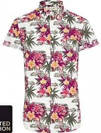 River Island White Hawaiian Print Short Sleeve Shirt