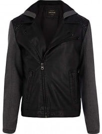 River Island Black Jersey Sleeve Hooded Biker Jacket