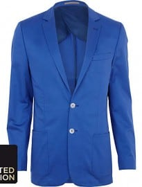 River Island Blue Slim Suit Jacket