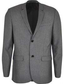 River Island Grey Skinny Suit Jacket