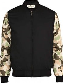 River Island Black Bellfield Camo Sleeve Bomber Jacket