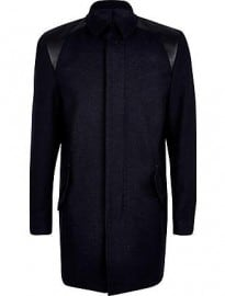 River Island Navy Life Of Tailor Leather-look Panel Coat
