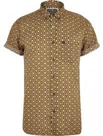 River Island Brown Holloway Road Geometric Print Shirt