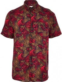 River Island Red Abstract Print Short Sleeve Shirt
