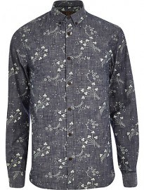 River Island Blue Jack & Jones Premium Floral Print Shirt