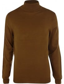 River Island Dark Mustard Roll Neck Jumper