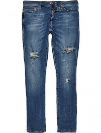 River Island Dark Wash Ripped Danny Superskinny Jeans