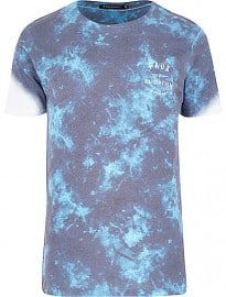 River Island Grey Friend Or Faux Tie Dye T-shirt