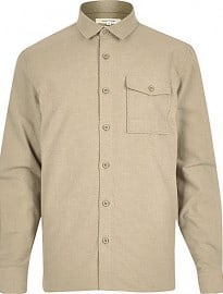 River Island Camel Flannel Minimal Overshirt