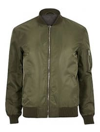 River Island Khaki Green Zip Sleeve Bomber Jacket