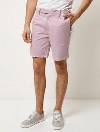 River Island Pink Slim Chino Buckle Shorts