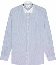 Reiss Symons Stripe With Collar Bar Shirt Blue