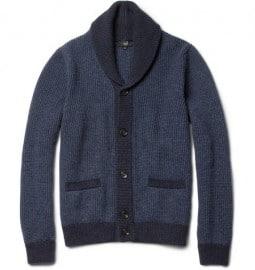 Dunhill Ribbed Shawl-collar Wool Cardigan