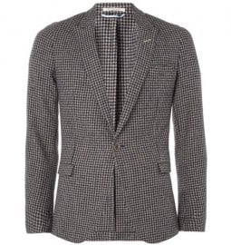 Gant Rugger Unstructured Slim-fit Houndstooth Wool Blazer