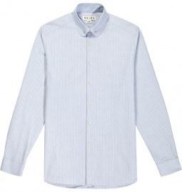 Reiss Boston Wide Stripe Collar Bar Shirt Blue