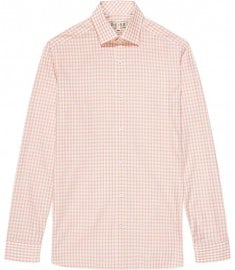 Reiss Wine Checked Shirt Orange