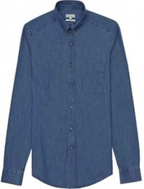 Reiss Royce Washed Denim Shirt Indigo