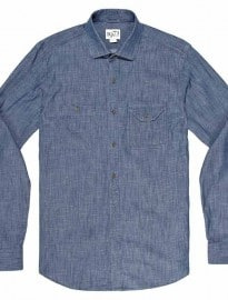 Reiss Drury Casual Shirt With Double Pocket Detail Mid Blue