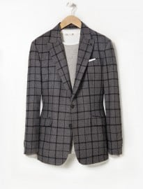 He By Mango Slim-fit Check Wool-blend Blazer