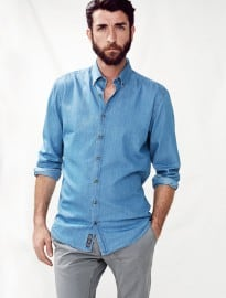 He By Mango Slim-fit Chambray Shirt
