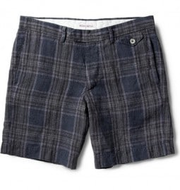 Michael Bastian Slim-fit Plaid Linen Shorts