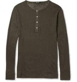 Balmain Slub Linen Henley T-shirt