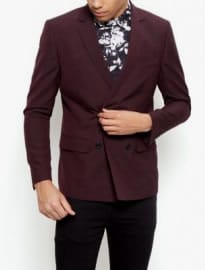 New Look Burgundy Double Breasted Blazer