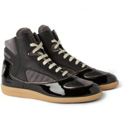 Maison Martin Margiela Patent-leather Suede And Twill High Tops