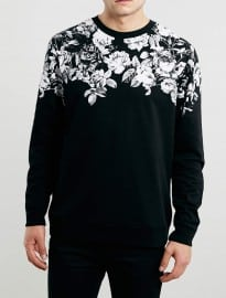 Topman Black Floral Printed Neck Sweatshirt