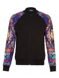 Topman Black Multi Print Sleeve Bomber Jacket