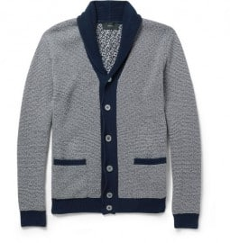 Zanone Striped Shawl-collar Cotton Cardigan
