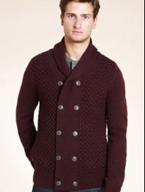 Slim Fit Limited Collection Double Breasted Knitted Cardigan With Wool