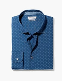 He By Mango Slim-fit Tie Print Shirt